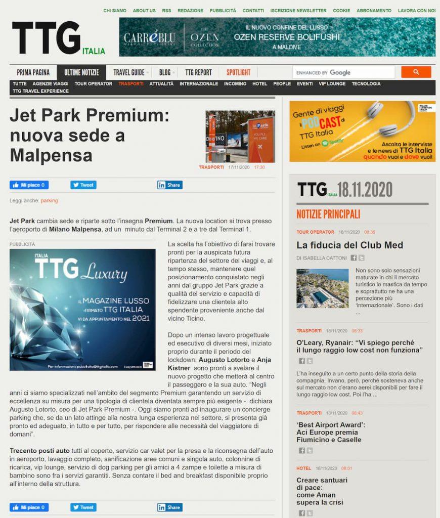 La nuova sede JetPark Premium sui quotidiani online